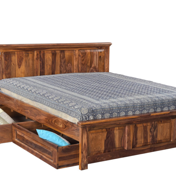 Tuscany Wooden Queen Bed With Storage New Design
